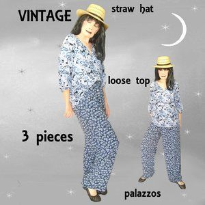 Vintage Mixed Print Outfit, Loose Top, Loose Pants